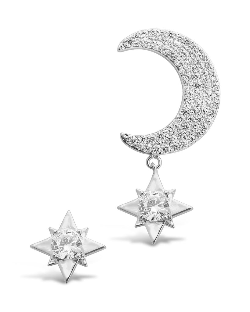 Asymmetric CZ Burst & Crescent Drop Studs Earring Sterling Forever Silver