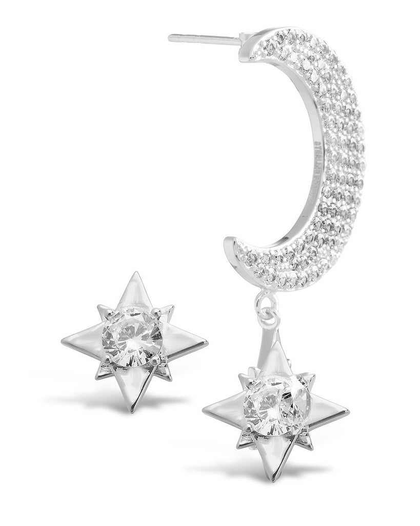 Asymmetric CZ Burst & Crescent Drop Studs Earring Sterling Forever