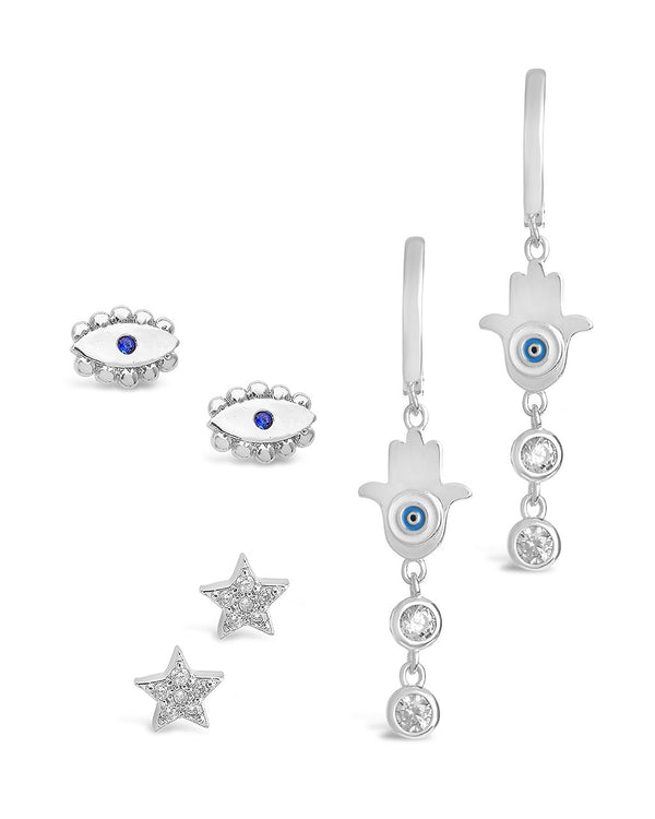 3pc Evil Eye Earring Set Earring Sterling Forever Silver