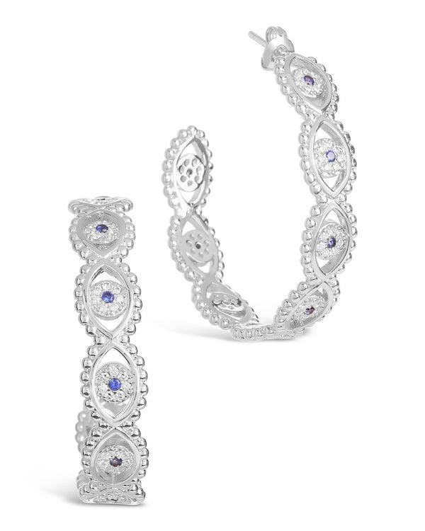 Ornate CZ Evil Eye Hoops Earring Sterling Forever Silver