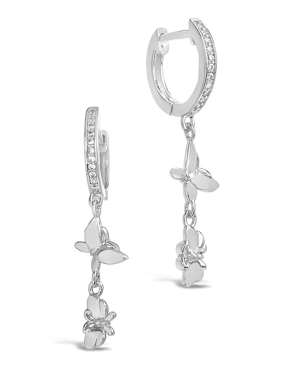 Butterfly Dangle Micro Hoops Earring Sterling Forever Silver
