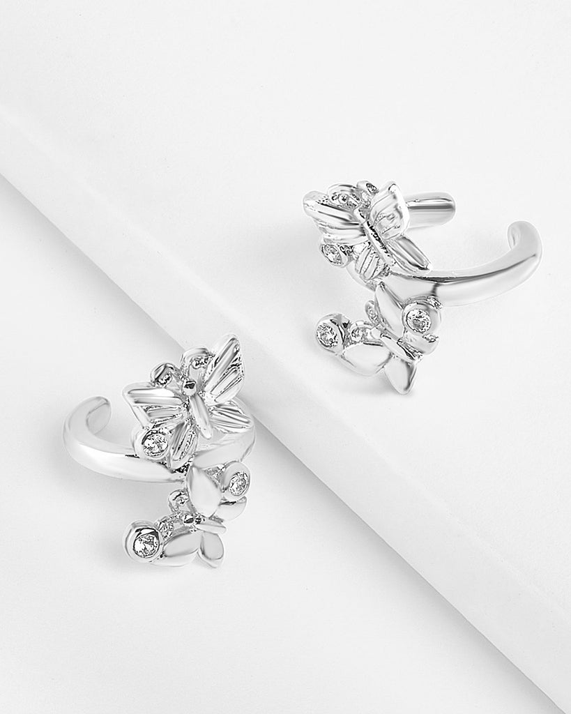 CZ & Butterfly Ear Cuff Set Earring Sterling Forever Silver