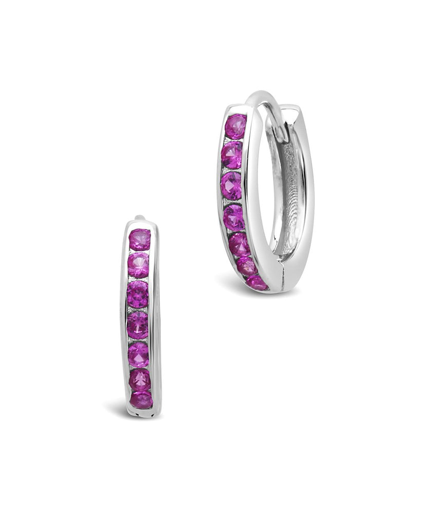 Sterling Silver CZ Micro Hoop Earrings - Sterling Forever