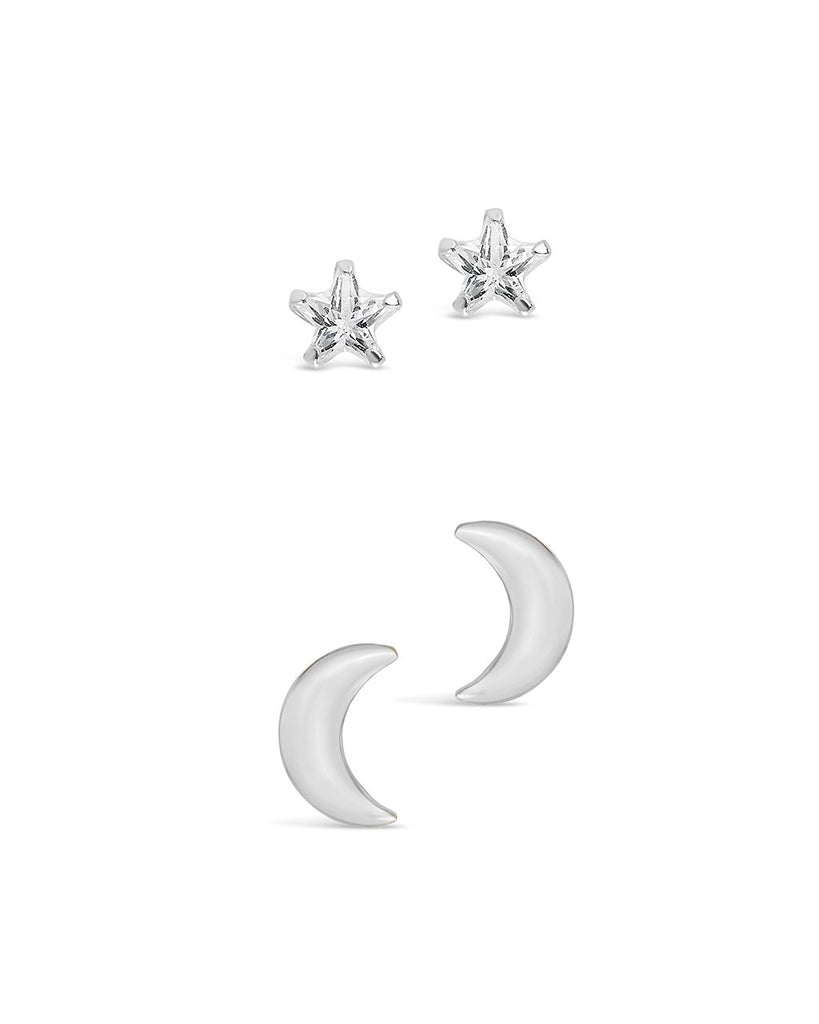 Sterling Silver Crescent & CZ Star Stud Set - Sterling Forever