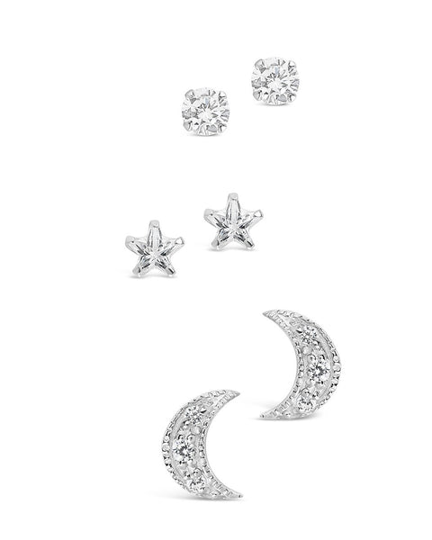 Sterling Silver CZ Crescent, Star, & Stud Set of 3 - Sterling Forever