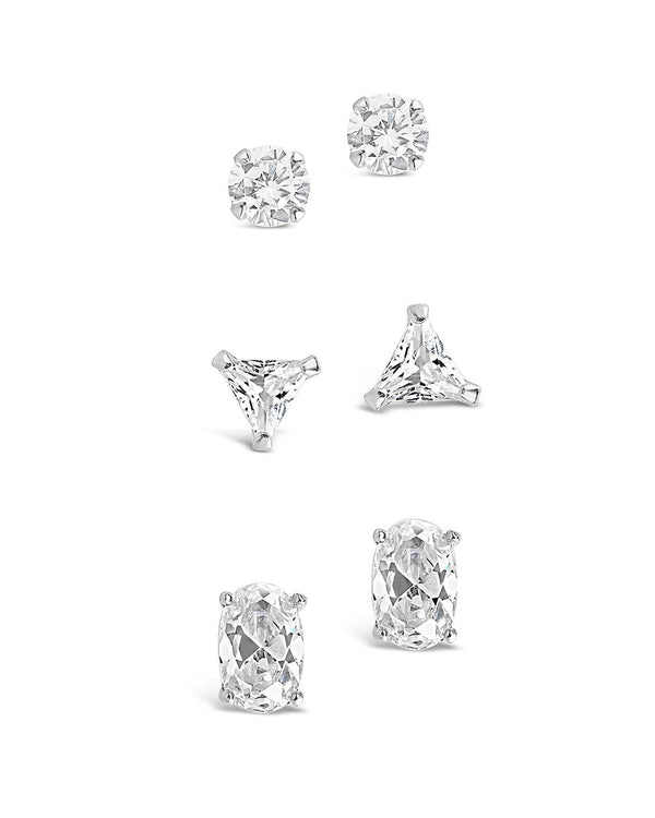 Sterling Silver Everyday CZ Stud Set of 3 - Sterling Forever