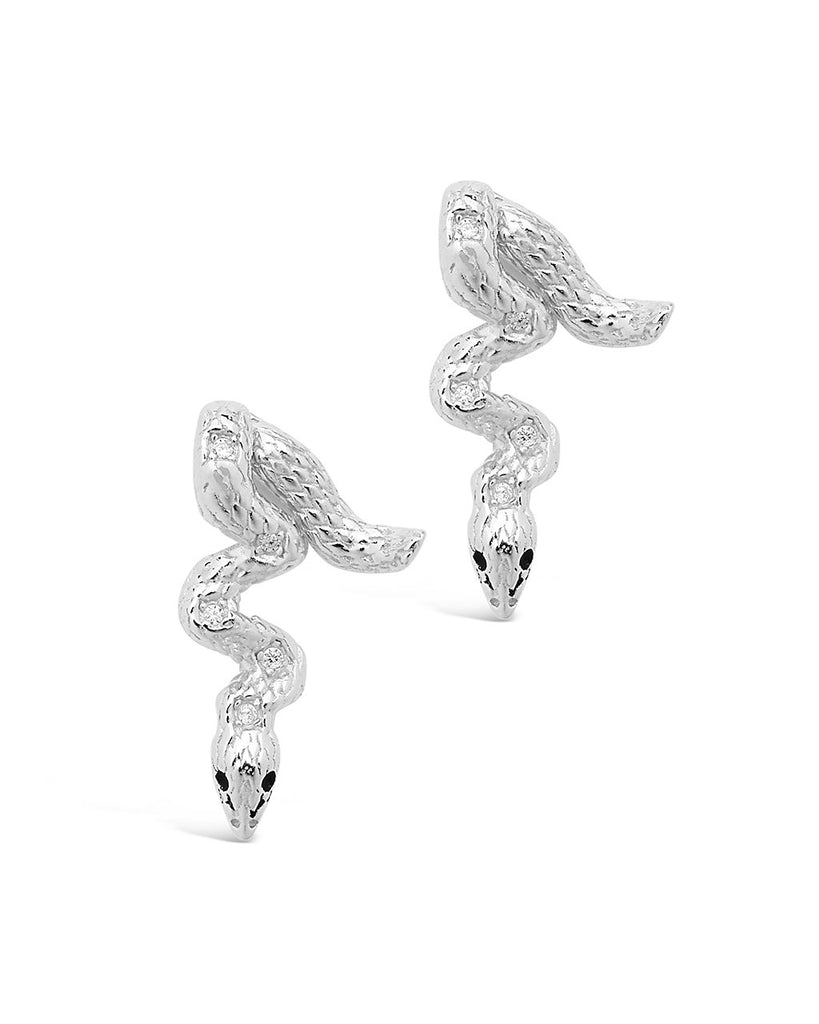 Sterling Silver Double Sided Snake Studs Earring Sterling Forever Silver
