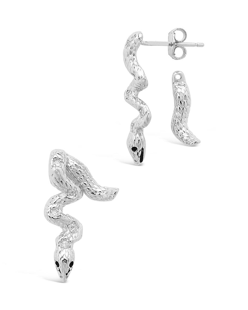 Sterling Silver Double Sided Snake Studs Earring Sterling Forever