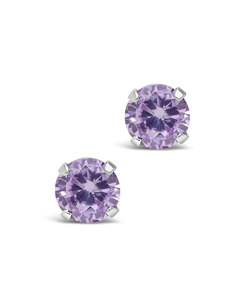 Sterling Silver 7mm Rainbow CZ Studs Earring Sterling Forever Lilac
