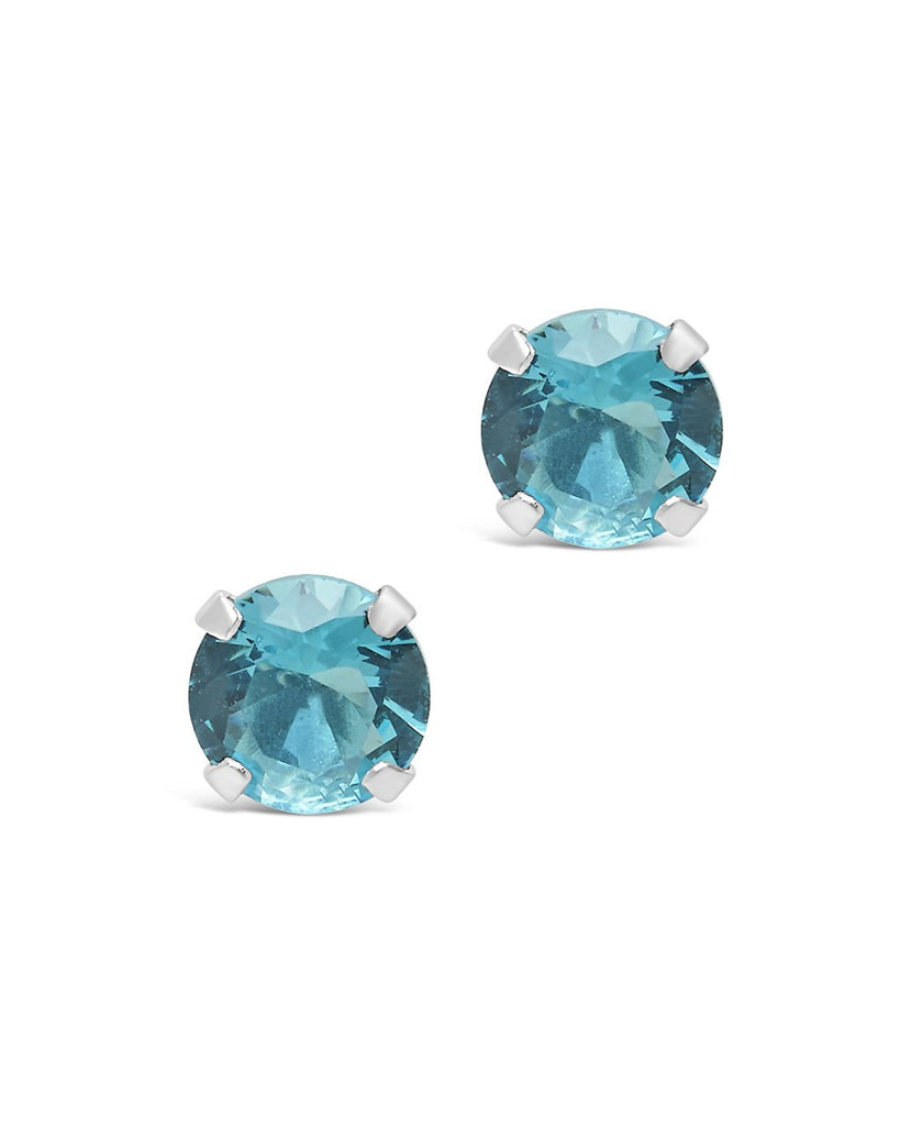 Sterling Silver 7mm Rainbow CZ Studs Earring Sterling Forever Blue Topaz