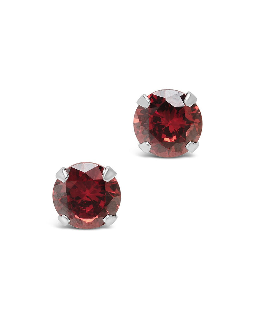 Sterling Silver 7mm Rainbow CZ Studs Earring Sterling Forever Garnet