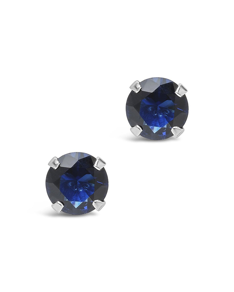 Sterling Silver 7mm Rainbow CZ Studs Earring Sterling Forever Sapphire