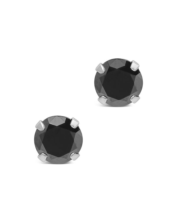 Sterling Silver 7mm Black CZ Stud Earrings - Sterling Forever