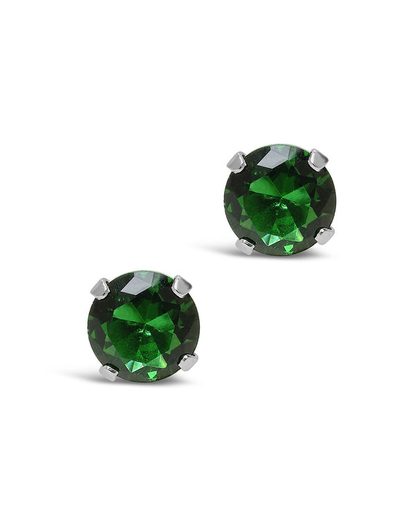 Sterling Silver 7mm Emerald CZ Stud Earrings - Sterling Forever