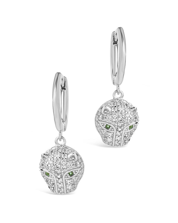 Sterling Silver Jaguar CZ Micro Hoops Earring Sterling Forever Silver