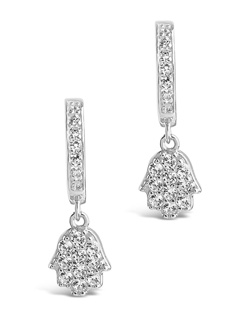 Sterling Silver CZ Hamsa Micro Hoops Earring Sterling Forever Silver