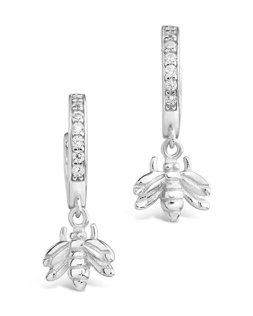 Sterling Silver CZ Bee Micro Hoops Earring Sterling Forever Silver