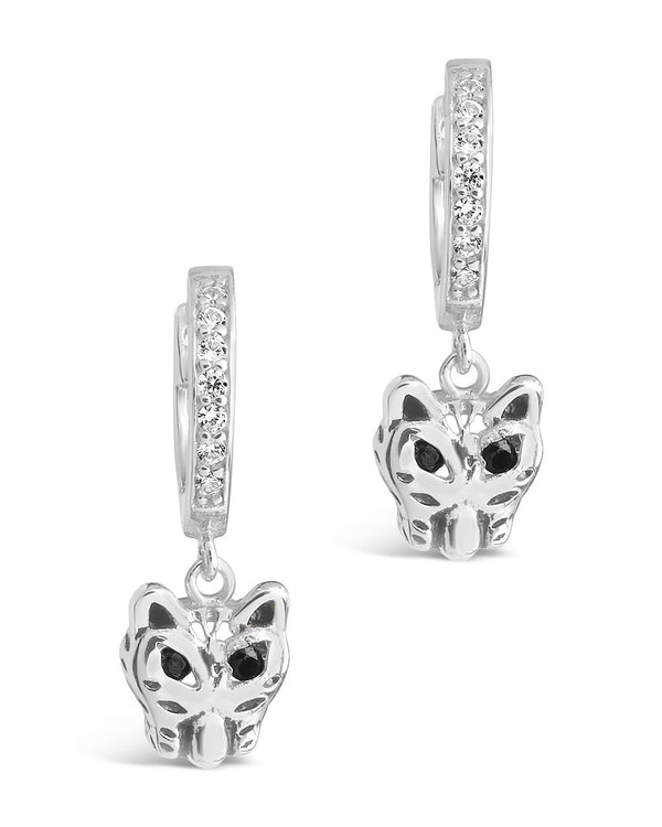 Sterling Silver Panther CZ Micro Hoops Earring Sterling Forever Silver