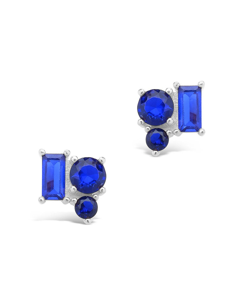 Sterling Silver CZ Cluster Studs Earring Sterling Forever Silver Sapphire