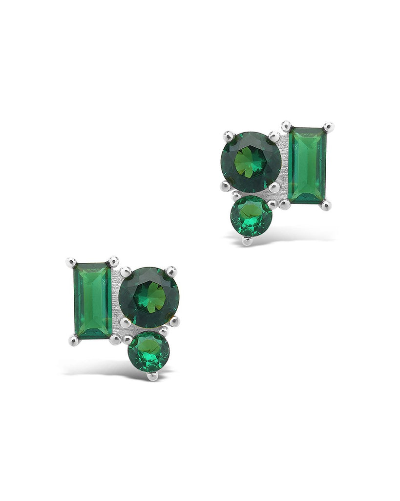 Sterling Silver CZ Cluster Studs Earring Sterling Forever Silver Emerald