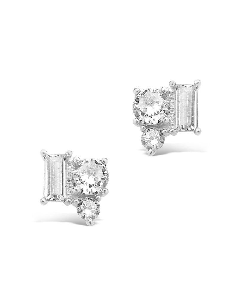 Sterling Silver CZ Cluster Studs Earring Sterling Forever Silver Clear