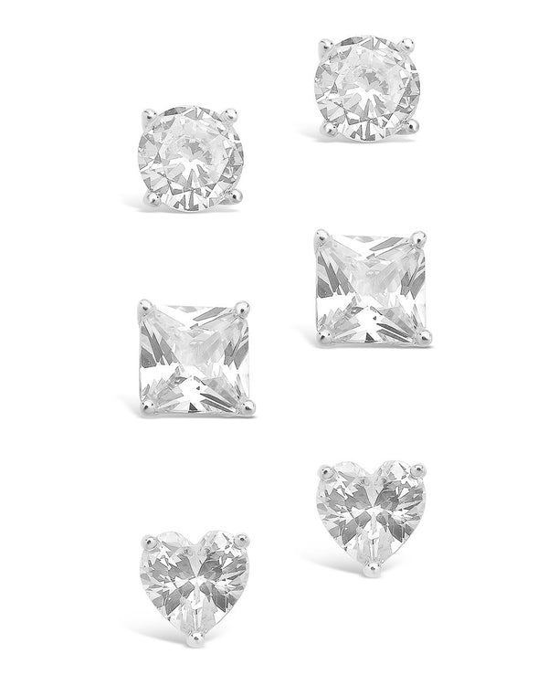 Sterling Silver Statement CZ Stud Set of 3 Earring Sterling Forever Silver