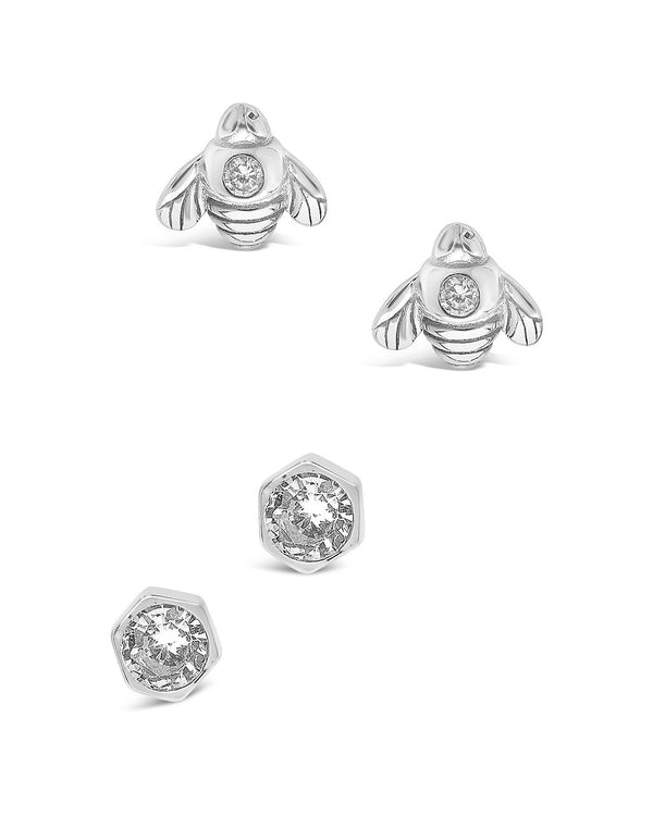 Sterling Silver Bee Stud Set of 2 Earring Sterling Forever Silver