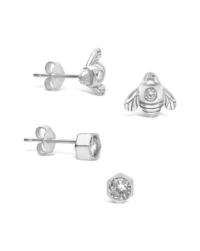Sterling Silver Bee Stud Set of 2 Earring Sterling Forever