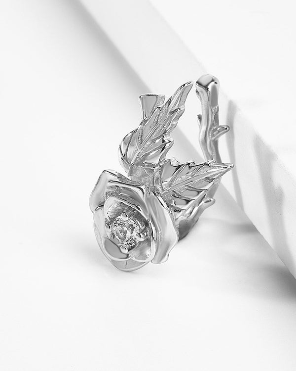 Sterling Silver Rose Branch Ear Cuff Earring Sterling Forever Silver