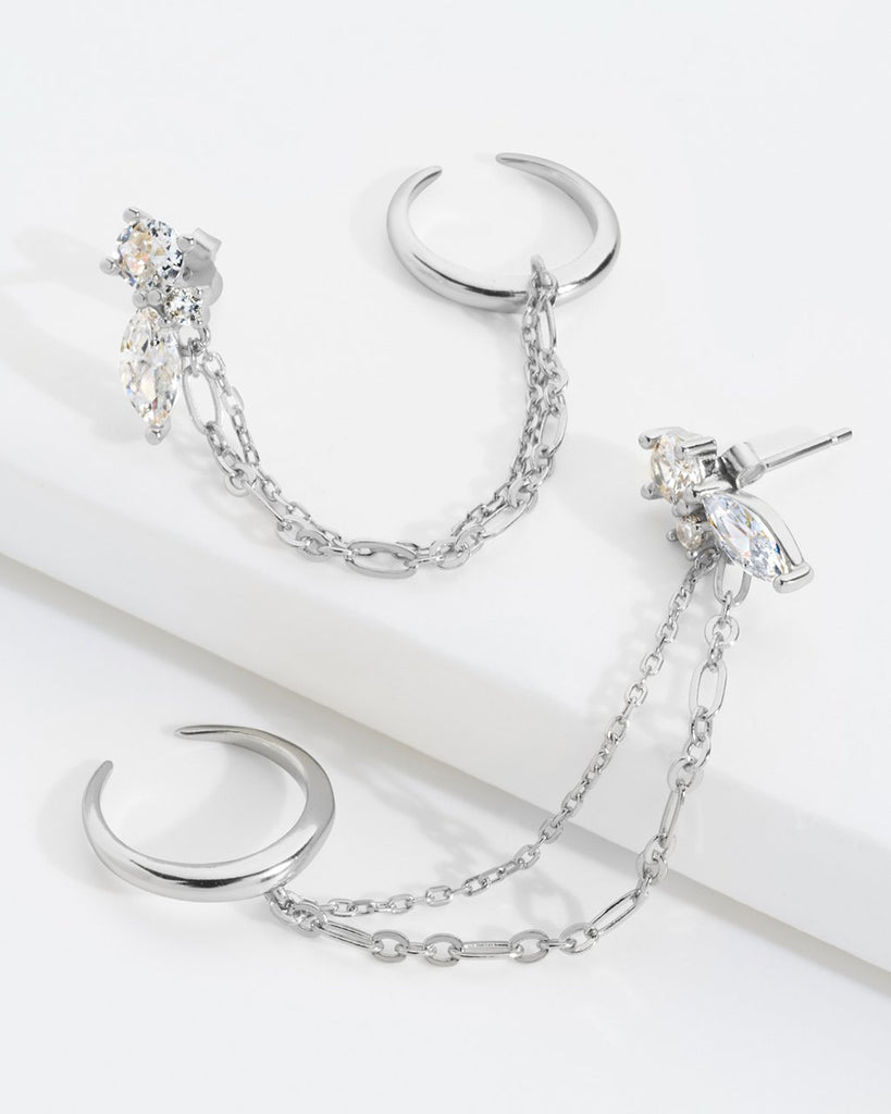 Sterling Silver Cluster Stud & Chain Ear Cuff Set Earring Sterling Forever Silver