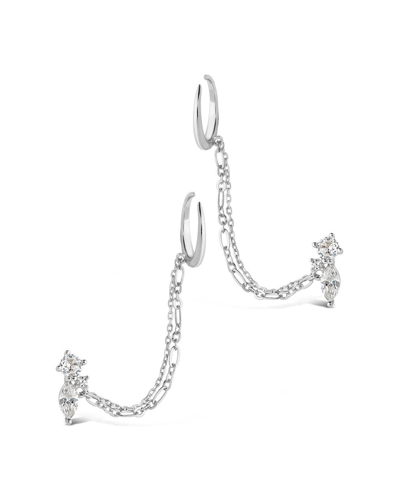 Sterling Silver Cluster Stud & Chain Ear Cuff Set Earring Sterling Forever