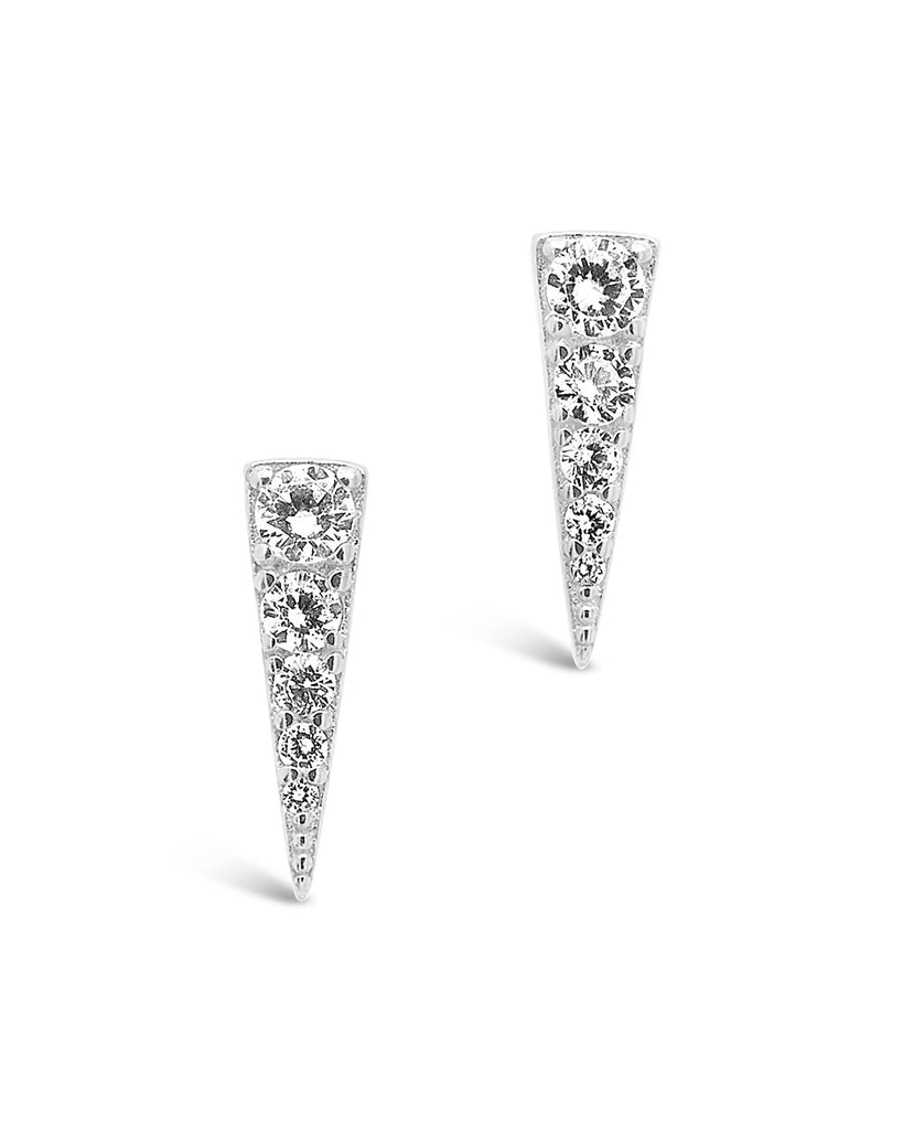 Sterling Silver CZ Pyramid Studs Earring Sterling Forever Silver