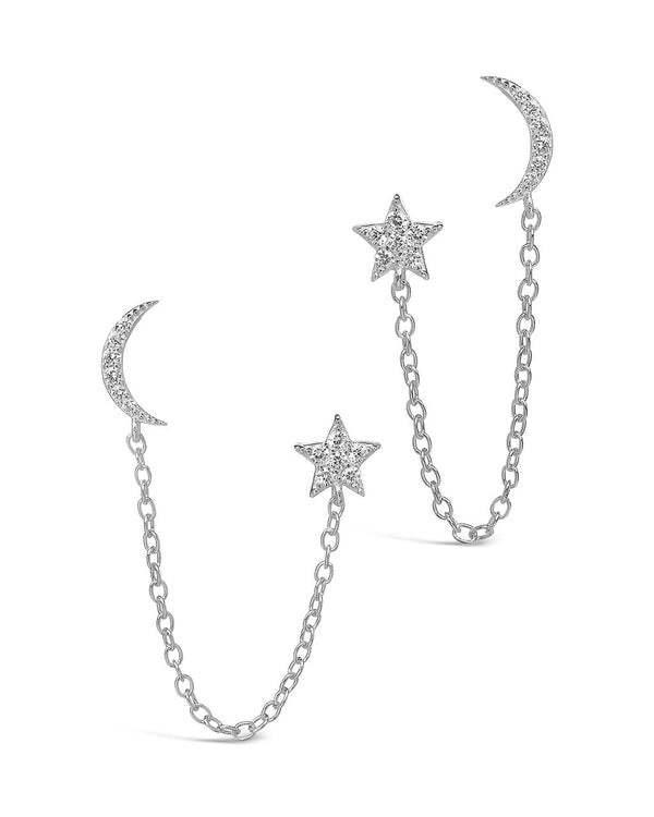 Sterling Silver Crescent & Star Double Studs Earring Sterling Forever Silver