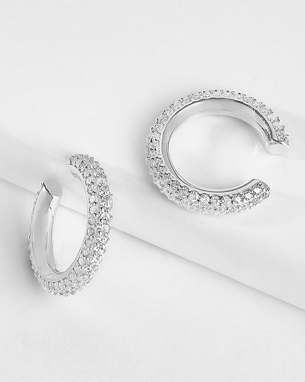 Sterling Silver Pave CZ Ear Cuff Set of 2 Earring Sterling Forever Silver