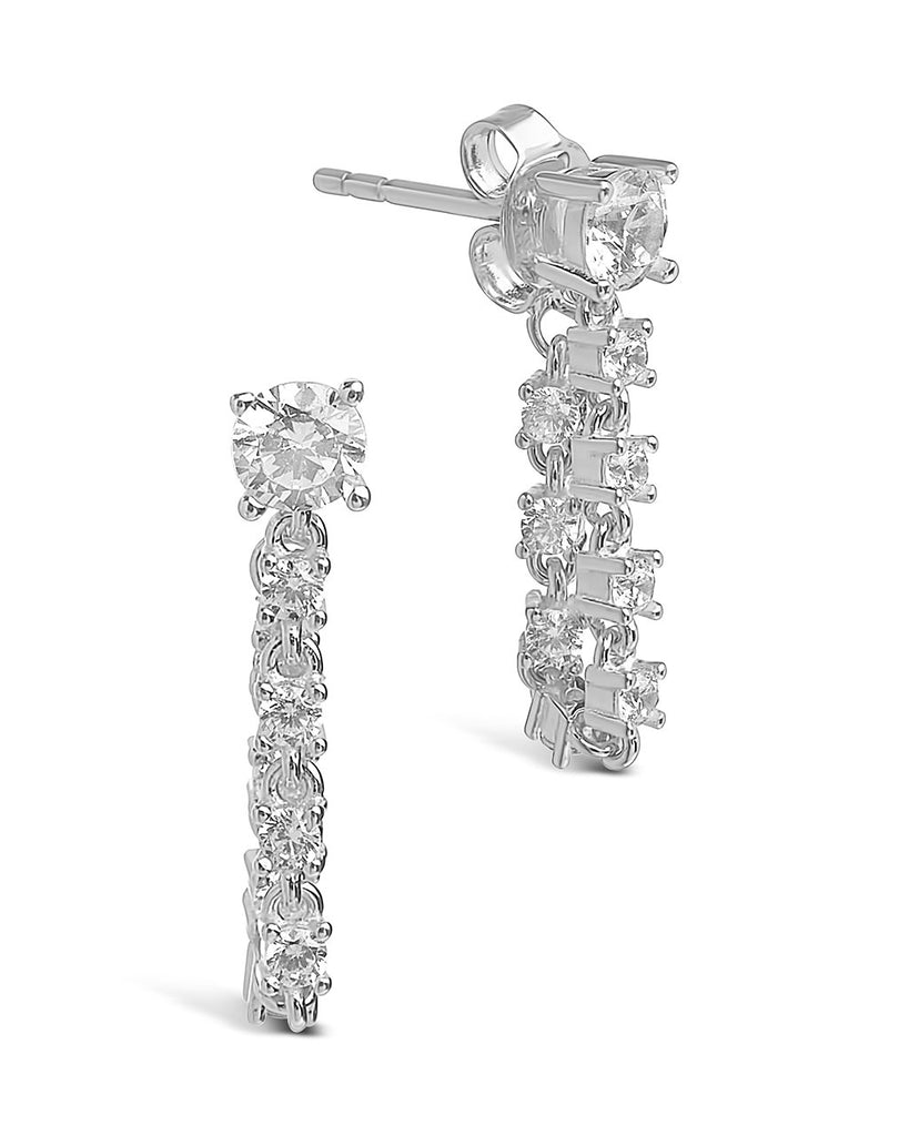 Sterling Silver CZ Chain Drop Studs Earring Sterling Forever