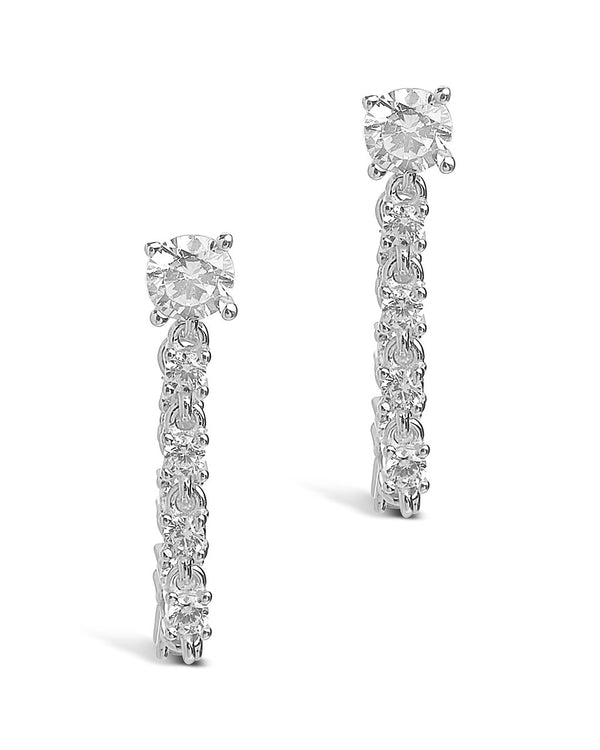 Sterling Silver CZ Chain Drop Studs Earring Sterling Forever Silver
