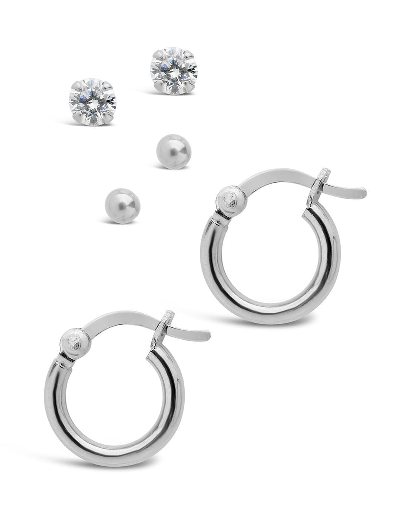 Sterling Silver Sphere, CZ Stud, & Hoop Set of 3 Earring Sterling Forever Silver