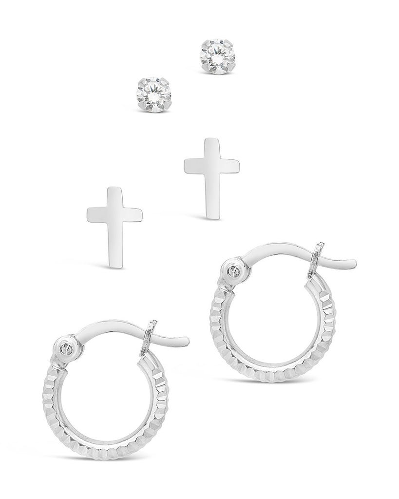 Sterling Silver Polished Cross, CZ Stud, & Textured Hoop Set of 3 Earring Sterling Forever Silver