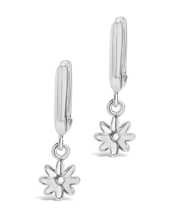 Wild Flower Dangle Micro Hoops Earring Sterling Forever Silver