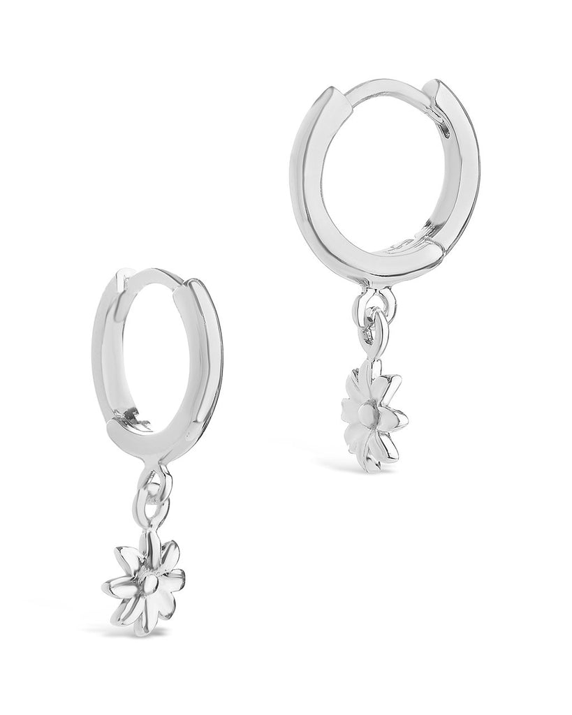 Wild Flower Dangle Micro Hoops Earring Sterling Forever