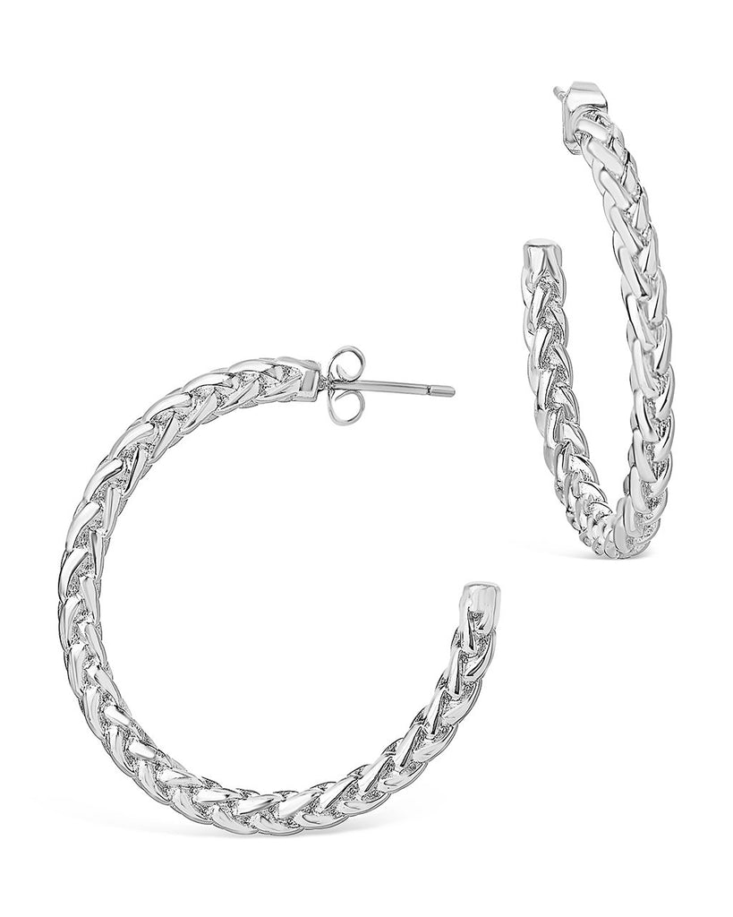 Thick Braided Rope Chain Hoops Earring Sterling Forever Silver
