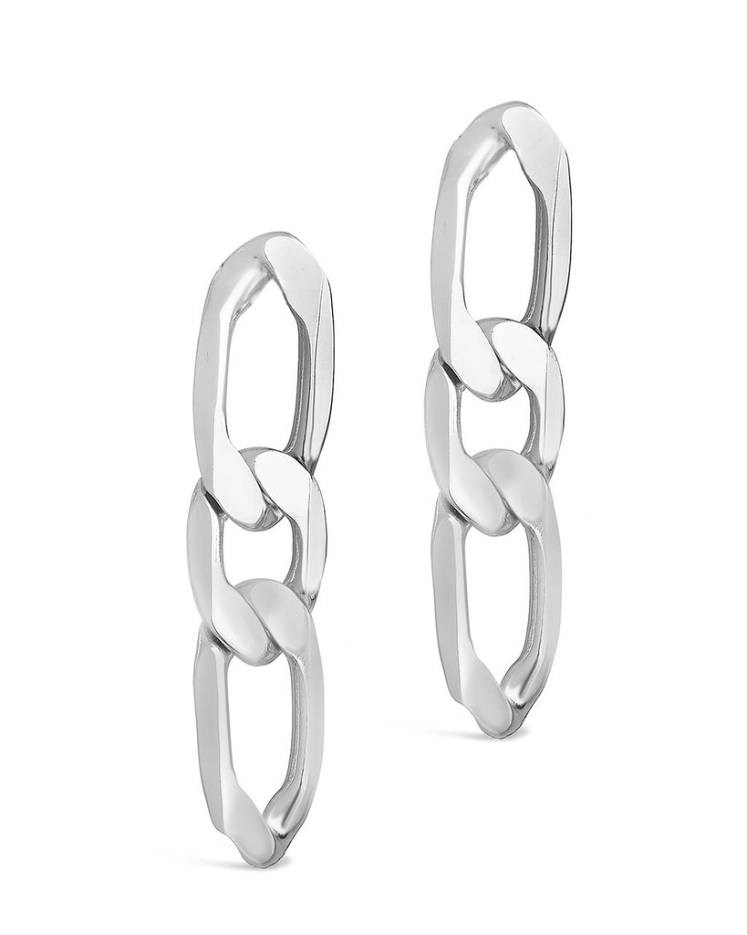 Linked Chain Drop Stud Earring Sterling Forever Silver