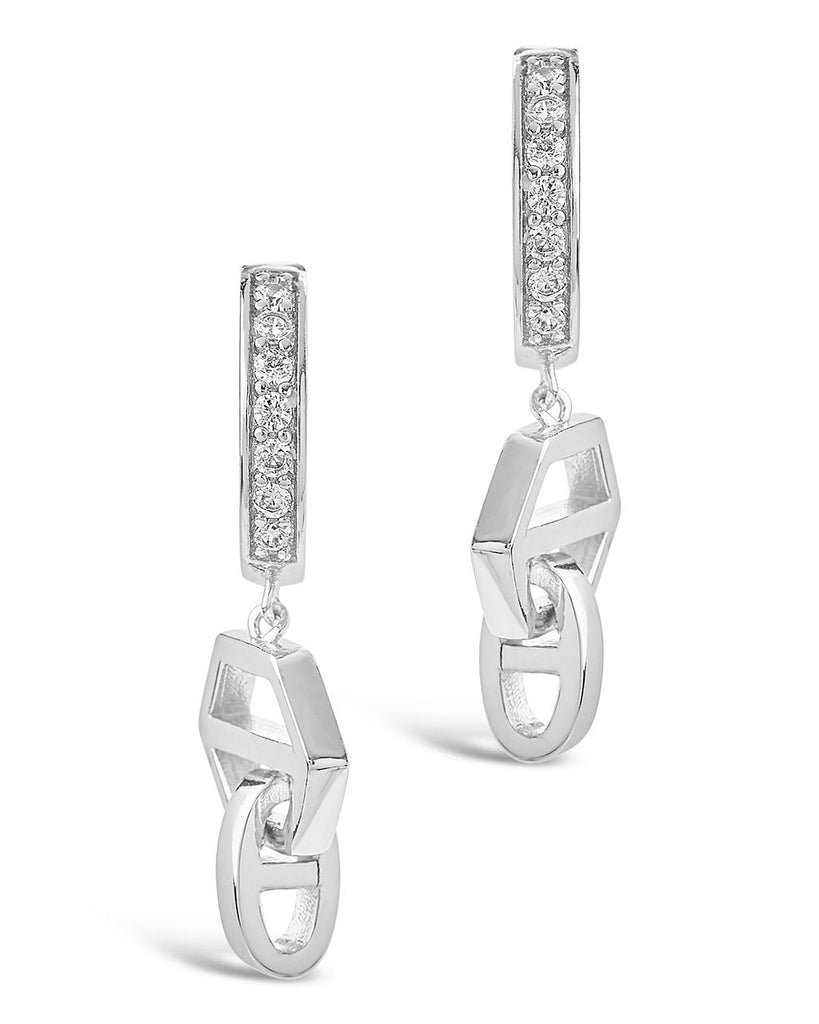 Geometric Anchor Chain Micro Hoops Earring Sterling Forever Silver