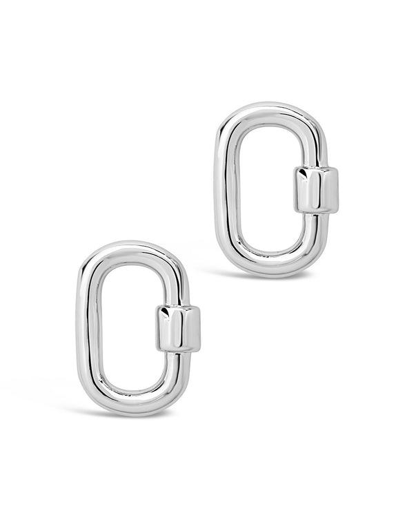 Polished Carabiner Lock Studs Earring Sterling Forever Silver