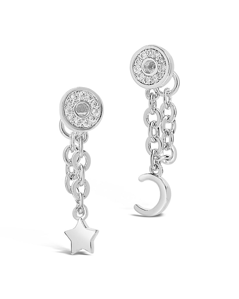 Moon & Star Chain Drop Earrings Earring Sterling Forever