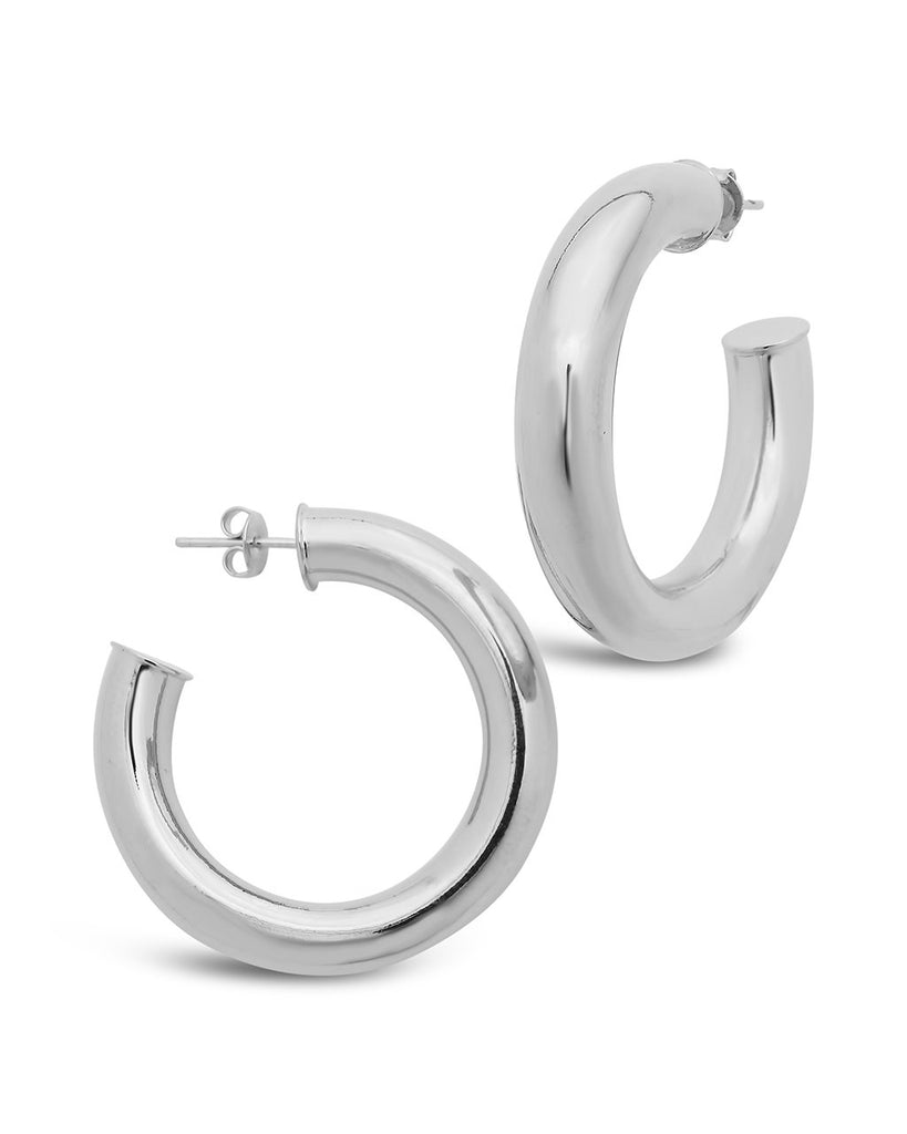 Thick Hollow Hoops Earring Sterling Forever Silver