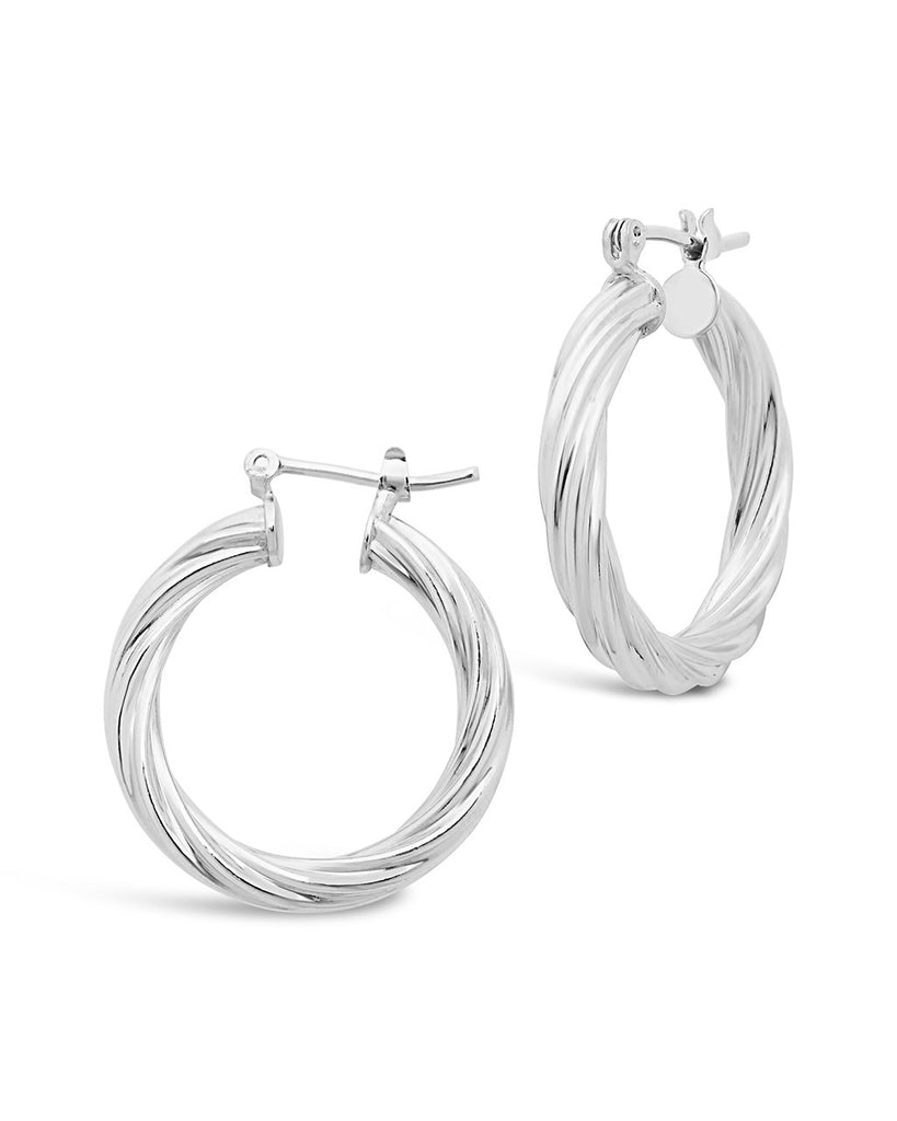 Twisted Hollow Hoops Earring Sterling Forever Silver