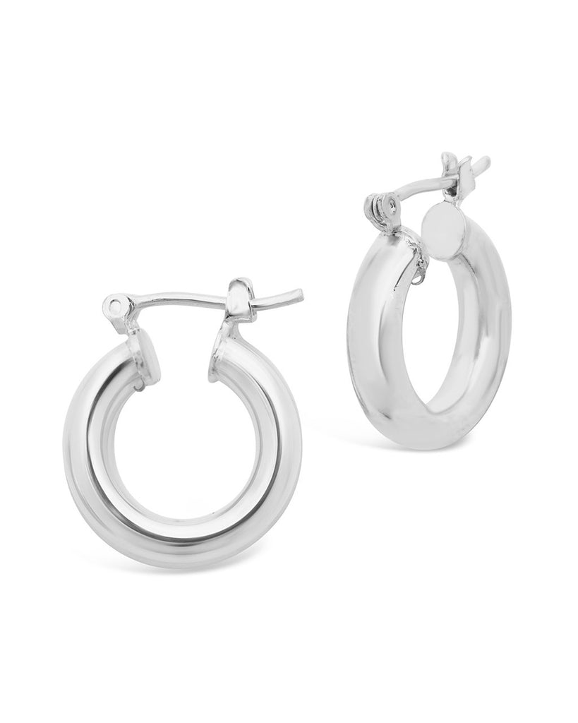 "Chunky Tube Hoops Earring Sterling Forever Silver Small (0.75"")"