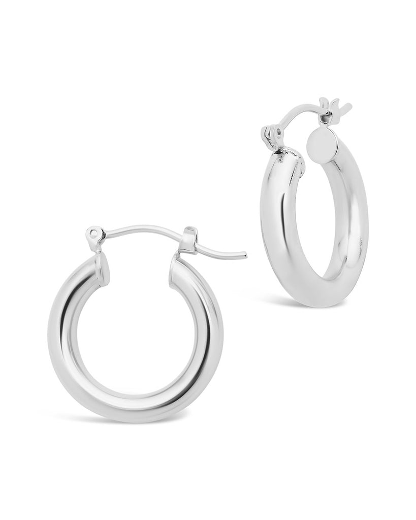 "Chunky Tube Hoops Earring Sterling Forever Silver Medium (1"")"