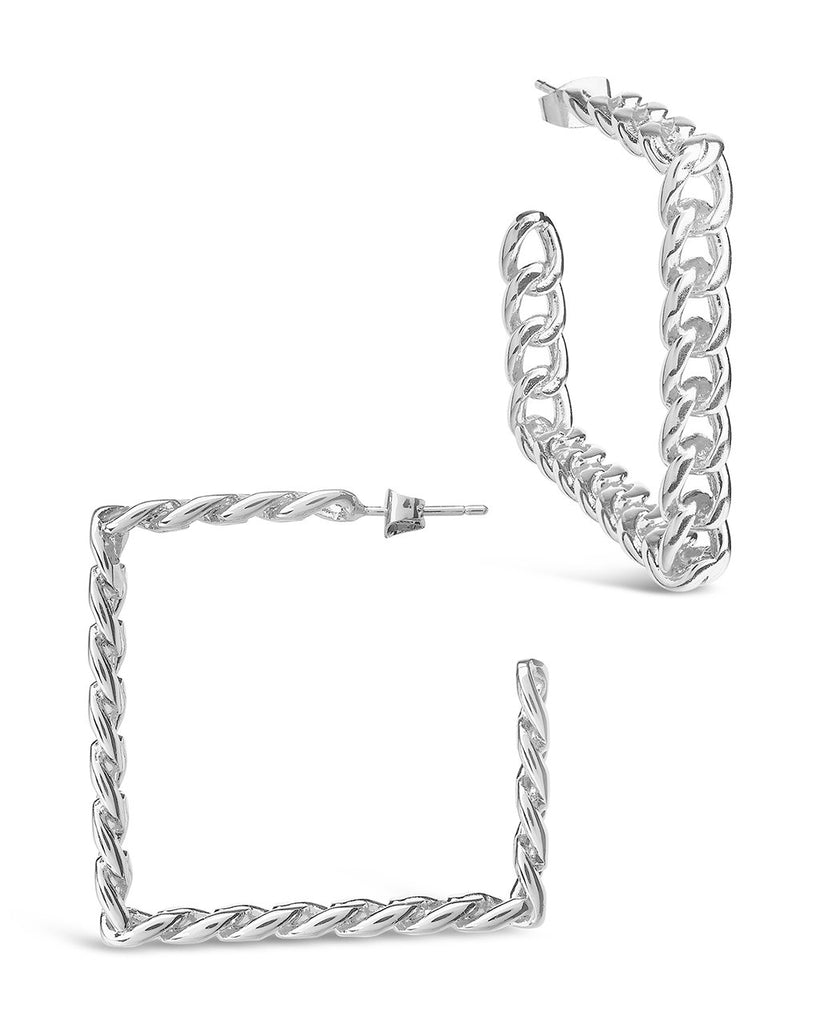 Square Cuban Link Hoops Earring Sterling Forever Silver